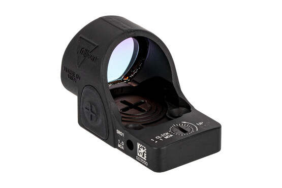 Trijicon SRO with 1.0 MOA dot reticle features a top-mounted battery compartment