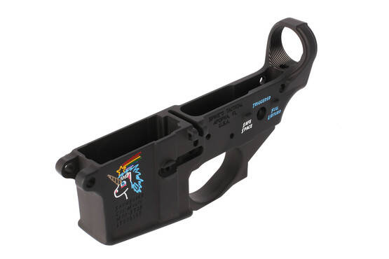 Spike's Tactical stripped Snowflake AR-15 lower receiver with colorfilled engraving