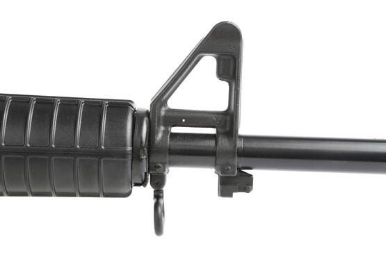 The Smith and Wesson M&P15 rifle features a fixed front sight gas block