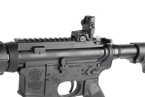 The Smith and Wesson M&P-15 comes with Magpul MBUS rear sight