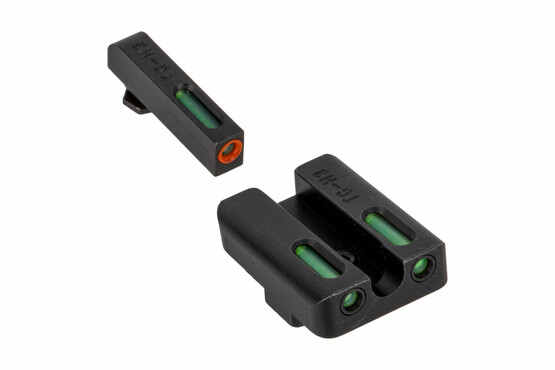 The Truglo TFX Glock Night Sight Set features green Tritium and an Orange outline front sight