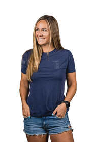 Nine Line womens pledge short sleeve t shirt in navy from front