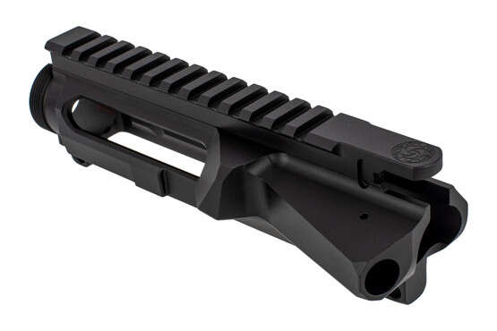 The CMT left handed stripped AR-15 upper receiver features engraved t-markings