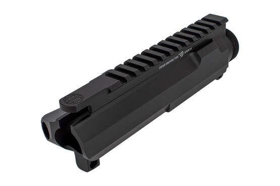 The Cross Machine Tool UPUR-1H billet AR15 upper receiver features a black hardcoat anodized finish