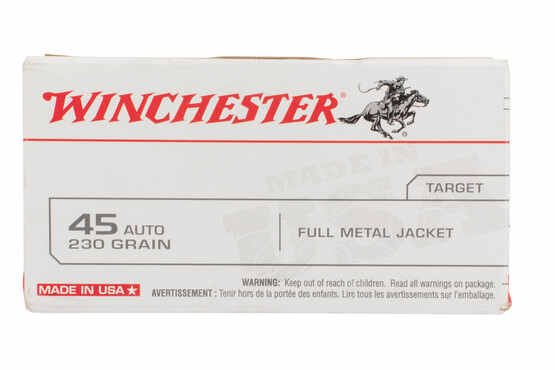 Winchester USA 45 ACP ammo with full metal jacket bullets