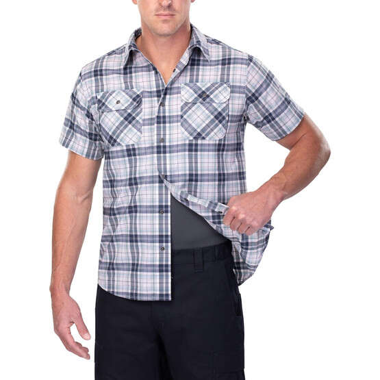 Vertx Short Sleeve Guardian Shirt in indigo plaid with concealed carry function