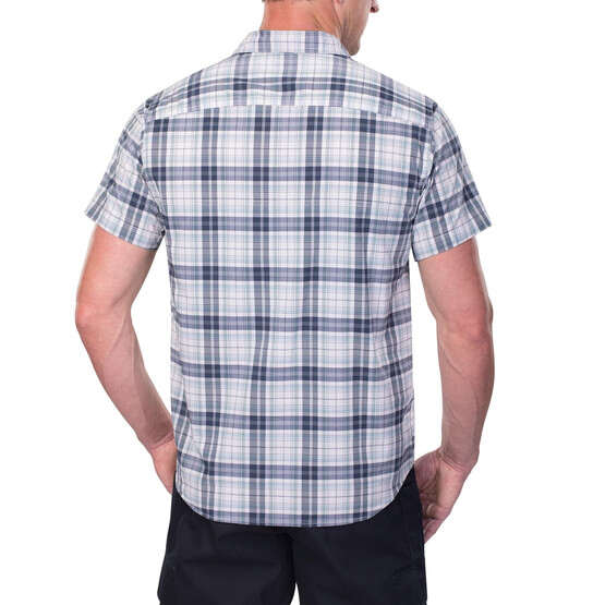 Vertx Short Sleeve Guardian Shirt in indigo plaid from the back