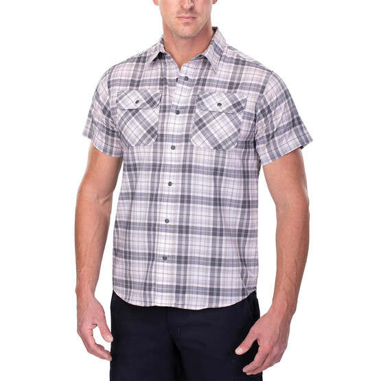 Vertx Short Sleeve Guardian Shirt in steel plaid from the front