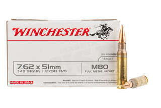 Winchester 762 NATO ammo loaded with an M80 ball full metal jacket round