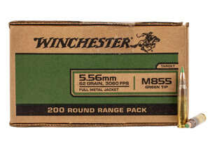 Winchester USA 556 NATO green tip ammunition in a box of 200 rounds