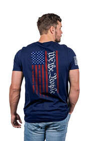 Nine Line We The People Flag Short Sleeve T-Shirt in Midnight Navy with flag graphic