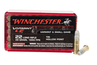 Winchester Varmint 22lr lead free hollow point ammo comes in a box of 50