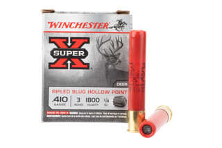 Winchester Super X 410 bore rifled slug ammunition features a 1/4 ounce slug