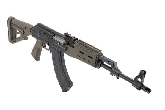Zastava bulged trunion ZPAP M70 AKM is threaded 14x1 LH with slant muzzle brake